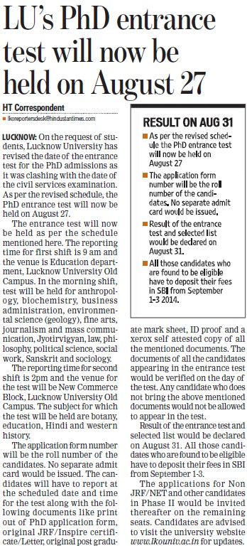 LUs PhD entrance test will now be held on Aug 27 (Lucknow University)