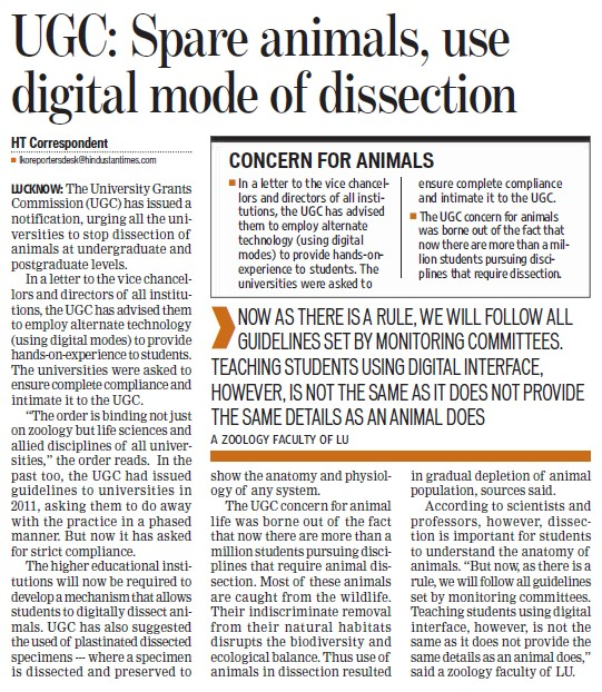 Spare animals, use digital mode of discussion (University Grants Commission (UGC))