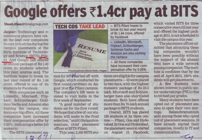 Google offers Rs 1.4cr pay at BITS (Birla Institute of Technology and Science (BITS))
