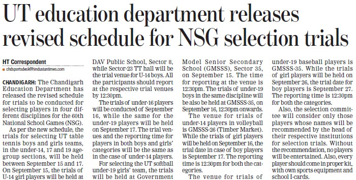 UT Education Deptt releases revised schedule for NSG selection (Education Department Chandigarh Administration)