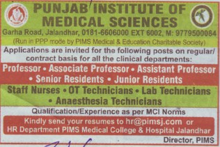 Senior Resident and Junior Asstt (Punjab Institute of Medical Sciences (PIMS))