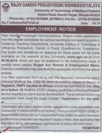 Teaching and non teaching posts (Rajiv Gandhi Proudyogiki Vishwavidyalaya)