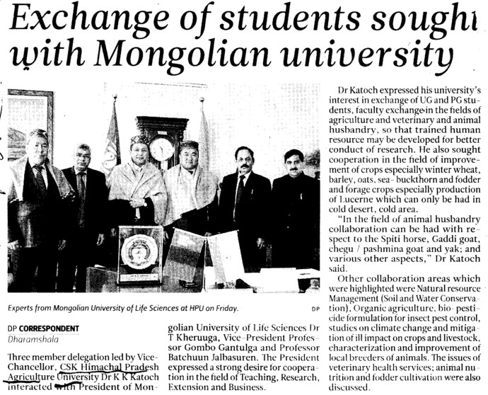 Exchange of students sought with Mongolian university (Chaudhary Sarwan Kumar (CSK) Himachal Pradesh Agricultural University)