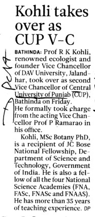 Kohli takes over as CUP VC (Central University of Punjab)