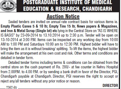 Supply of plastic canes (Post-Graduate Institute of Medical Education and Research (PGIMER))