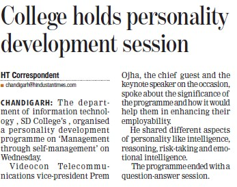 Personality Development program held (GGDSD College)