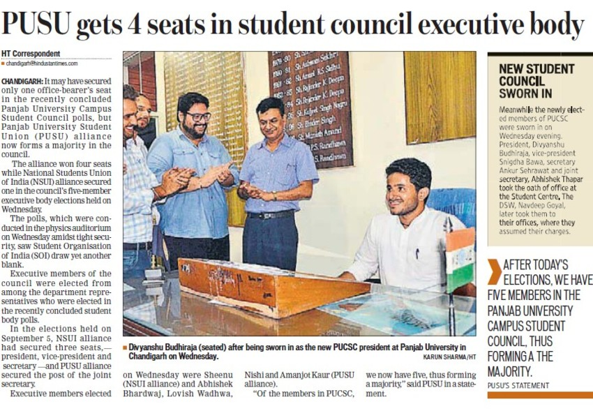 PUSU gets 4 seats in student council executive (Panjab University Students Union PUSU)