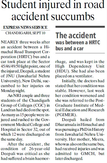 Student injured in road accident succumbs (Chandigarh Group of Colleges)