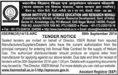 Supply of Heliumgas (Indian Institute of Science Education and Research (IISER))