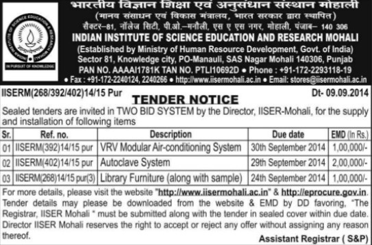 Supply of Autoclave System (Indian Institute of Science Education and Research (IISER))