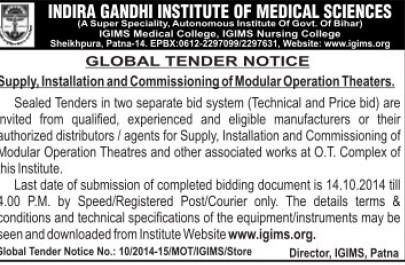 Supply of Modular Operation Theatre (Indira Gandhi Institute of Medical Sciences (IGIMS))