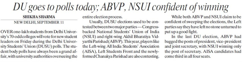 DU goes to polls today (Delhi University)