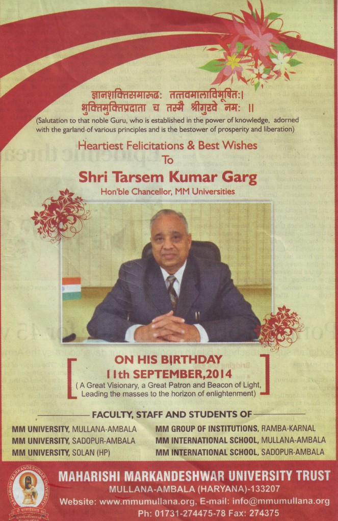 Best wishes to Tarsem Kumar Garg for Birthday (Maharishi Markandeshwar University)