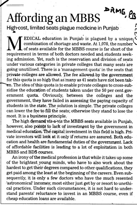 Affording an MBBS (Director Research and Medical Education DRME Punjab)