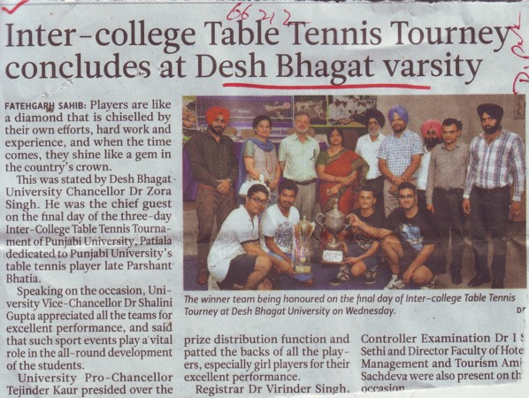 Inter College Table Tennis Tourney concludes (Desh Bhagat University)