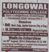 Senior Lecturer for Physics (Longowal College of Pharmacy and Polytechnic)