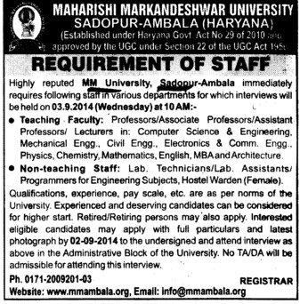 Lab Assistant and Hostel warden (Maharishi Markandeshwar University)