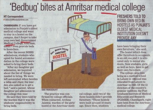 Bedbug bites at Amritsar medical college (Government Medical College)