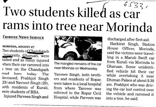 Two students killed as car rams into tree near Morinda (Chandigarh University)