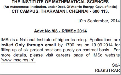 Project position on contract basis (Institute of Mathematical Sciences)