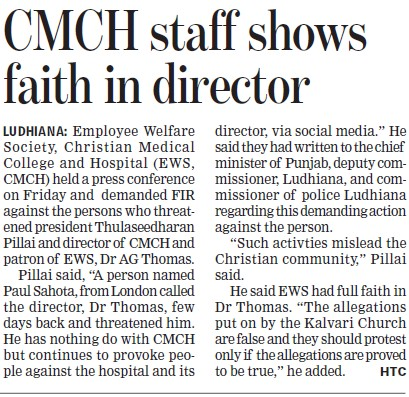 CMCH staff shows faith in Director (Christian Medical College and Hospital (CMC))