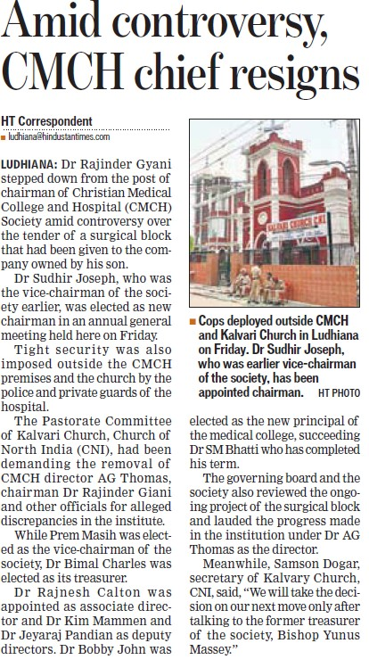 Amid controversy, CMCH chief resigns (Christian Medical College and Hospital (CMC))