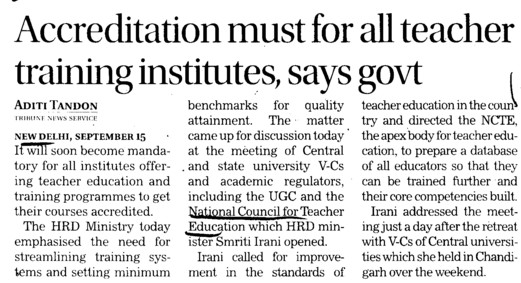Accreditation must for all teacher training institute, Govt (National Council for Teacher Education NCTE)