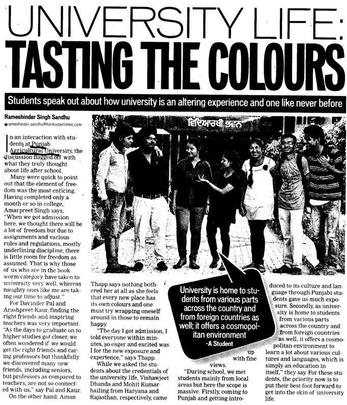 University life, tasting the colours (Punjab Agricultural University PAU)