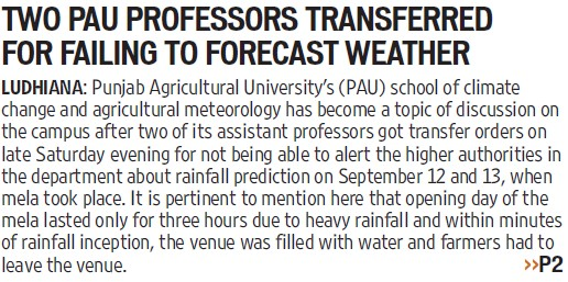 PAU Professor transferred for failing to forecast weather (Punjab Agricultural University PAU)