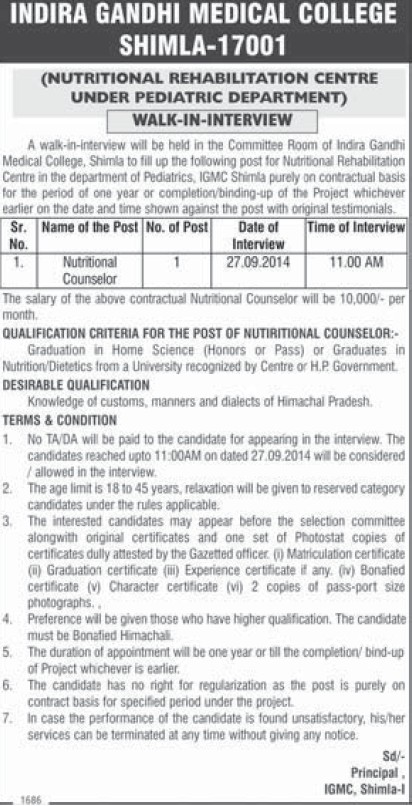 Nutritional Counselor (Indira Gandhi Medical College (IGMC))