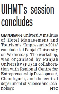 UIHMT session concludes (PU University Institute of Hotel Management & Tourism (PU UIHMT))