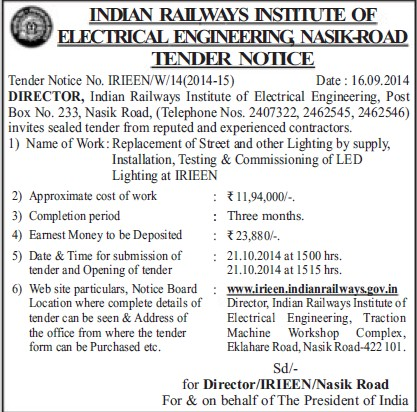 Installation of LED lighting (Indian Railways Institute of Electrical Engineering (IRIEEN))