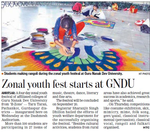 Zonal youth fest starts (Guru Nanak Dev University (GNDU))