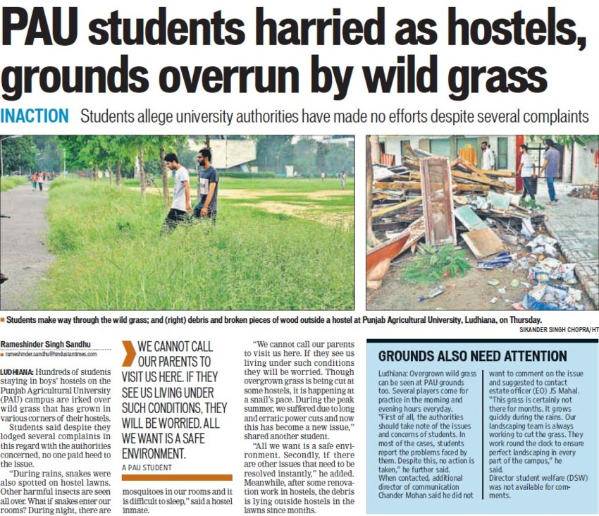 PAU students harried as hostels (Punjab Agricultural University PAU)