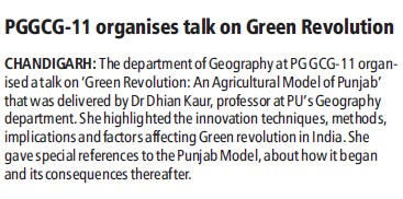 PGGCG organises talk on Green revolution (Post Graduate Government College (Sector 11))