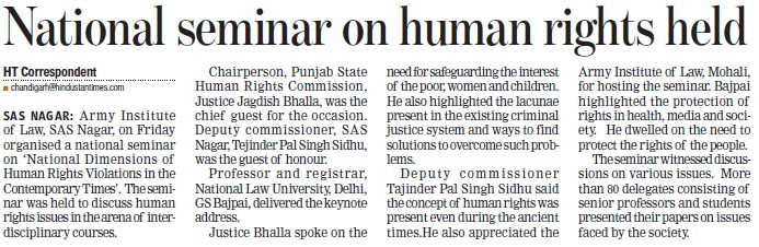 National seminar on human rights held (Army Institute of Law)