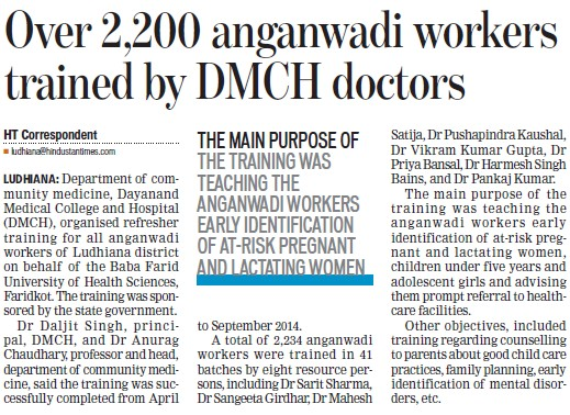 Over 2200 anganwadi workers trained by DMCH doctors (Dayanand Medical College and Hospital DMC)