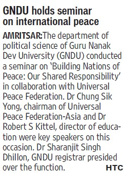 GNDU holds seminar on International peace (Guru Nanak Dev University (GNDU))