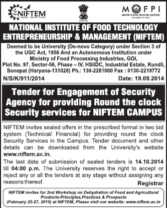 Engagement of Security Services (National Institute of Food Technology Entrepreneurship and Management (NIFTEM))