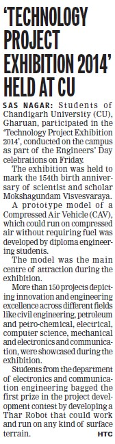 Technology project exhibition 2014 held (Chandigarh University)