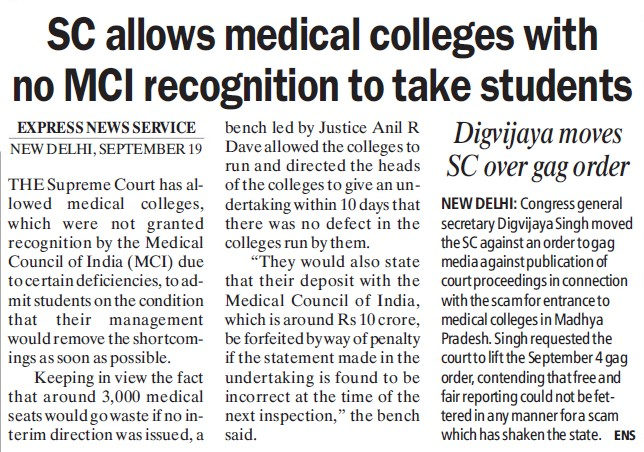 SC allows medical colleges with no MCI recognition (Medical Council of India (MCI))