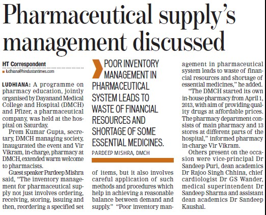 Pharmaceutical supply management discussed (Dayanand Medical College and Hospital DMC)