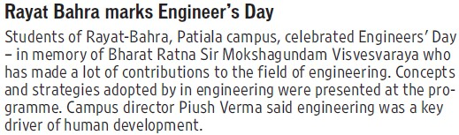 Engineers day celebrated (Rayat and Bahra Group)