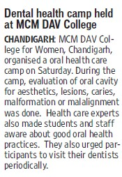 Dental Health camp held (MCM DAV College for Women)