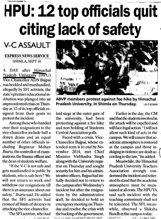 12 top officials quit citing lack of safety (Himachal Pradesh University)