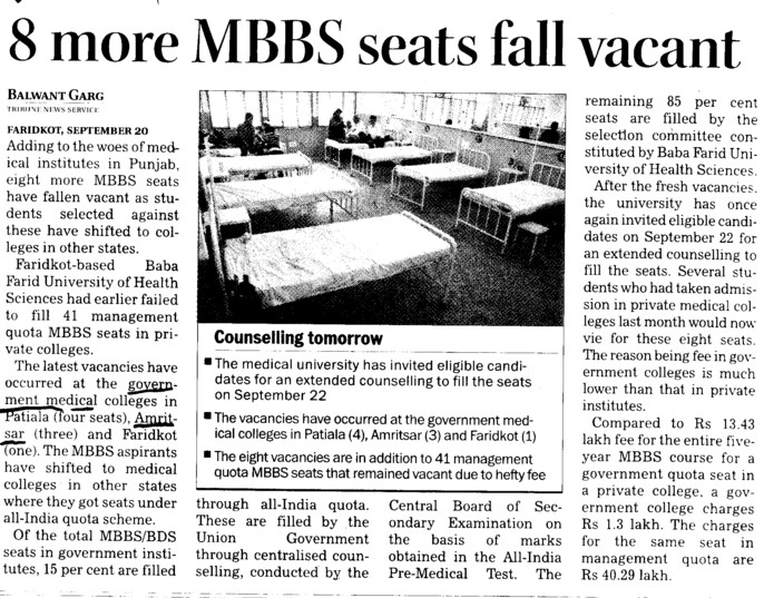 8 more MBBS seats fall vacant (Government Medical College)