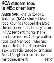 KCA student tops in MSc Chemistry (Khalsa College)