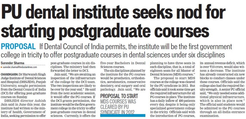 PU dental institute seeks nod for starting PG courses (Dr Harvansh Singh Judge Institute of Dental Sciences and Hospital)