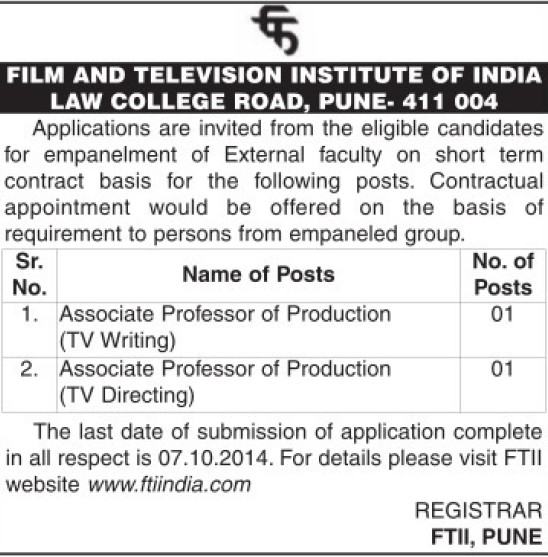 Associate Professor for Production Engineering (Film and Television Institute of India)