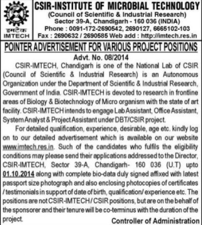 Project Assistant (Institute of Microbial Technology (IMTECH))